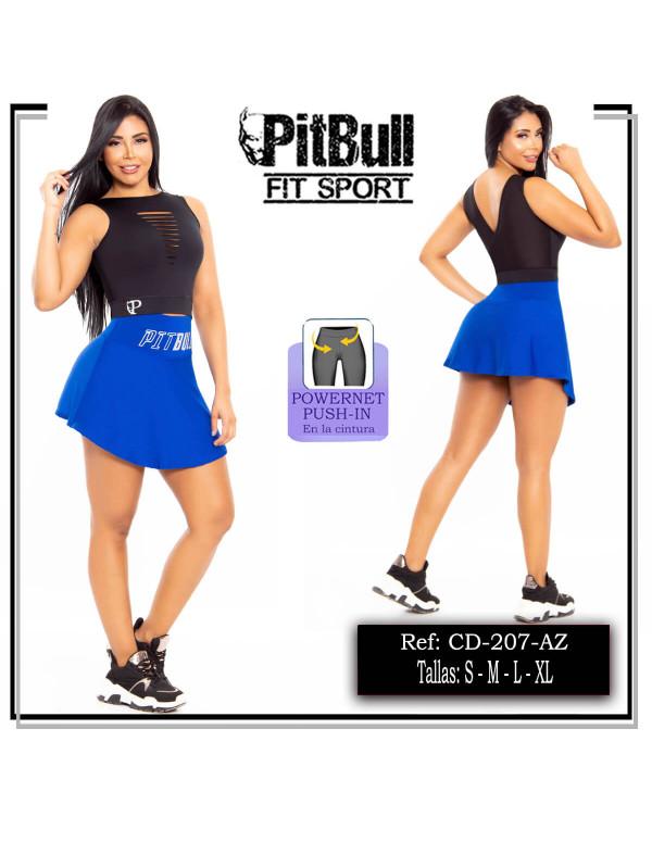 conjunto falda deportivo pitbull azul cd207